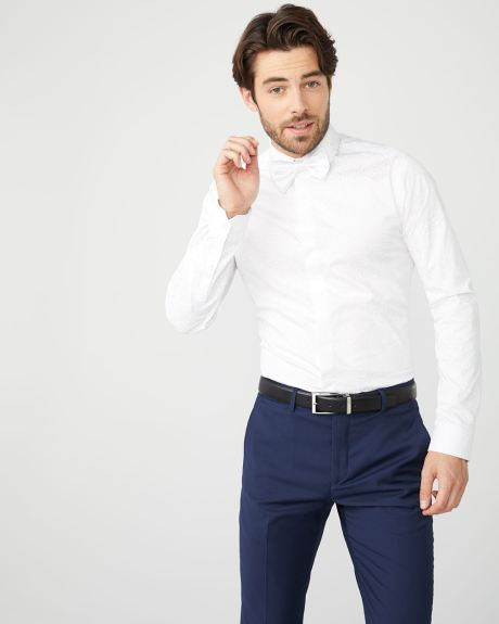 Slim Fit white tonal pattern dress shirt