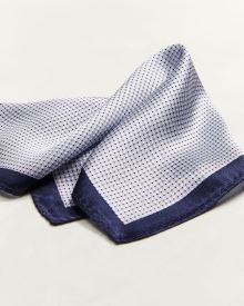 Blue pattern pocket square with navy boarders