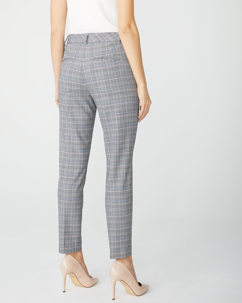 Pink and Blue Plaid Slim Leg ankle pant