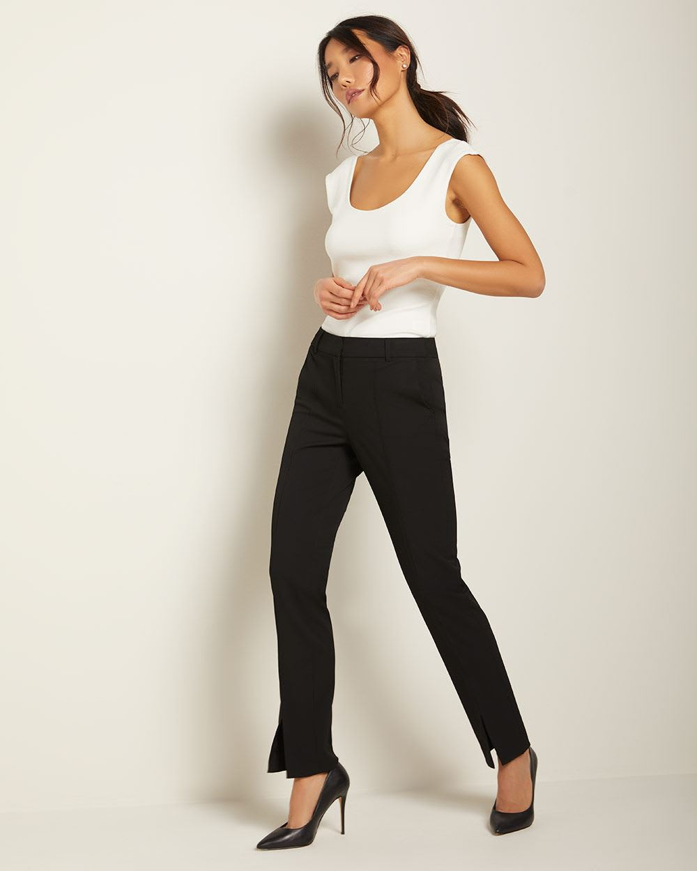 Stretch Signature fit Slim Leg Pant with split hem