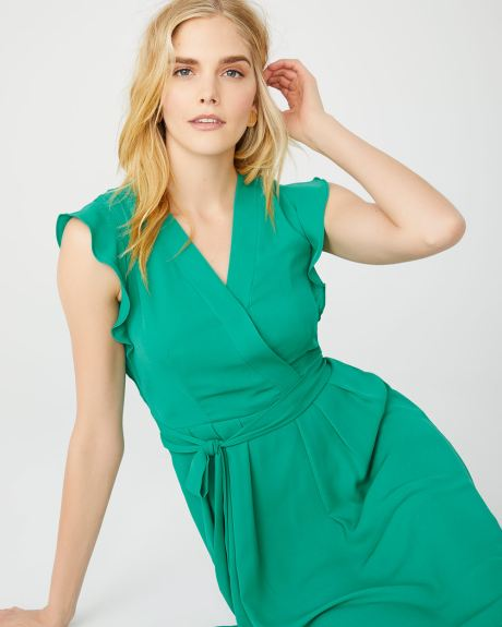8fc9116c63 Fit and Flare belted wrap dress with ruffles