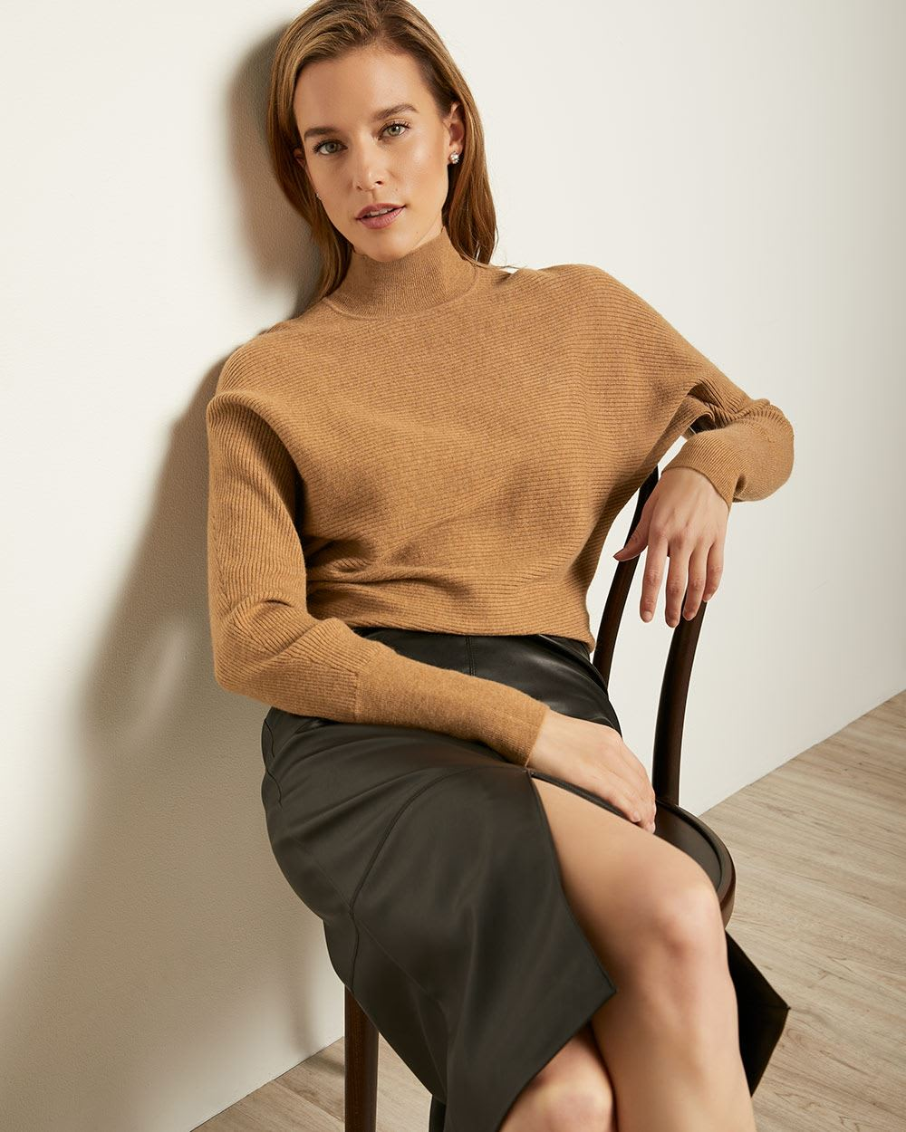 Rib Knit Bat Wing Sleeve Sweater