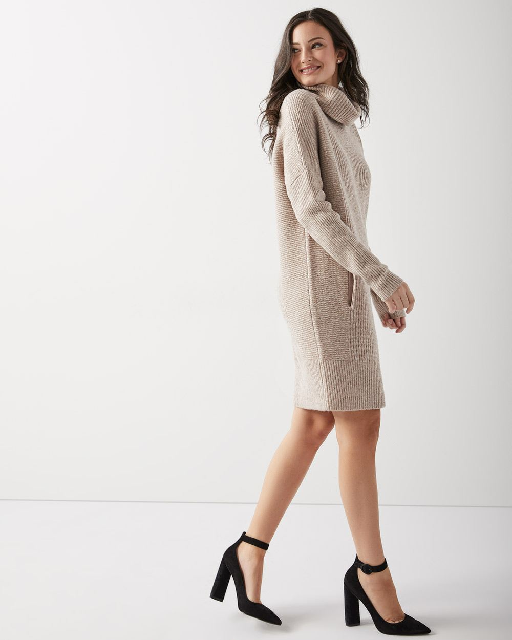 Ribbed turtleneck cocoon sweater dress
