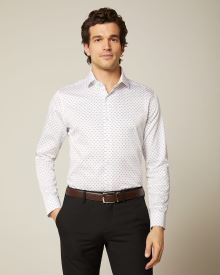 Tailored Fit patterned white dress Shirt