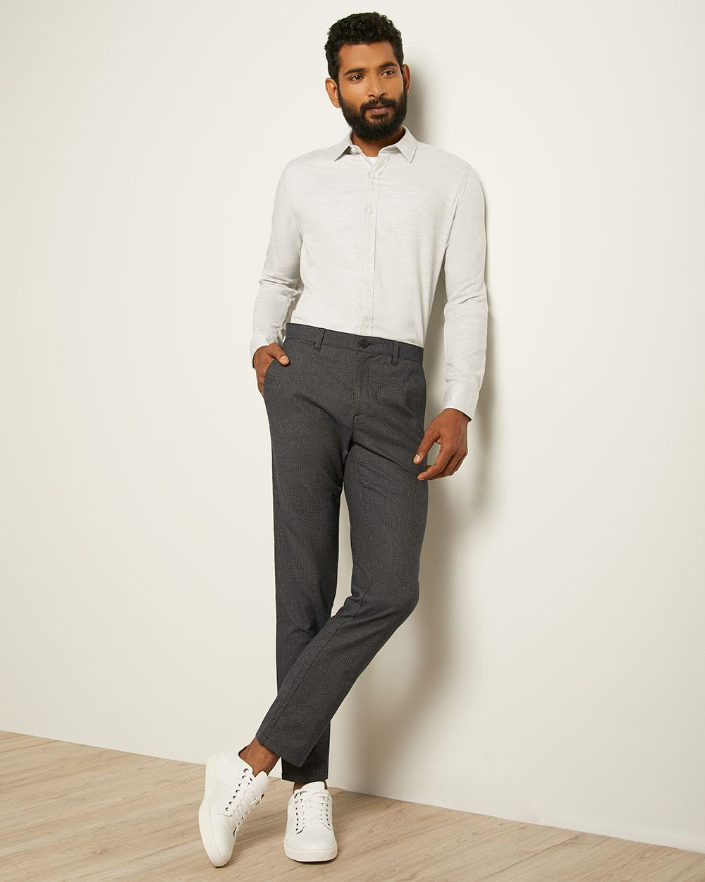 Slim Fit Brushed Houndstooth Pant