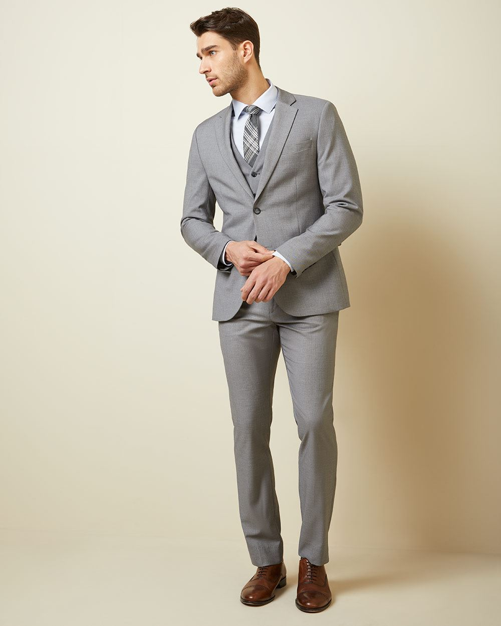 Essential Slim Fit stretch light grey suit Pant