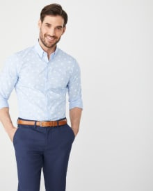 Slim Fit white print blue dress shirt