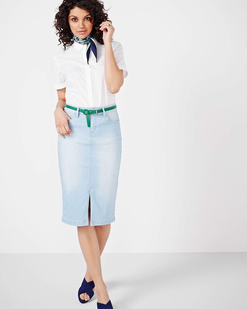 denim pencil skirt with front slit rw co