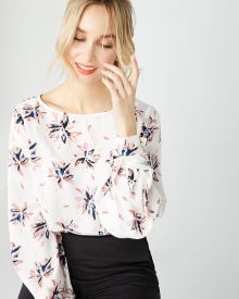 Pleated sleeve popover blouse