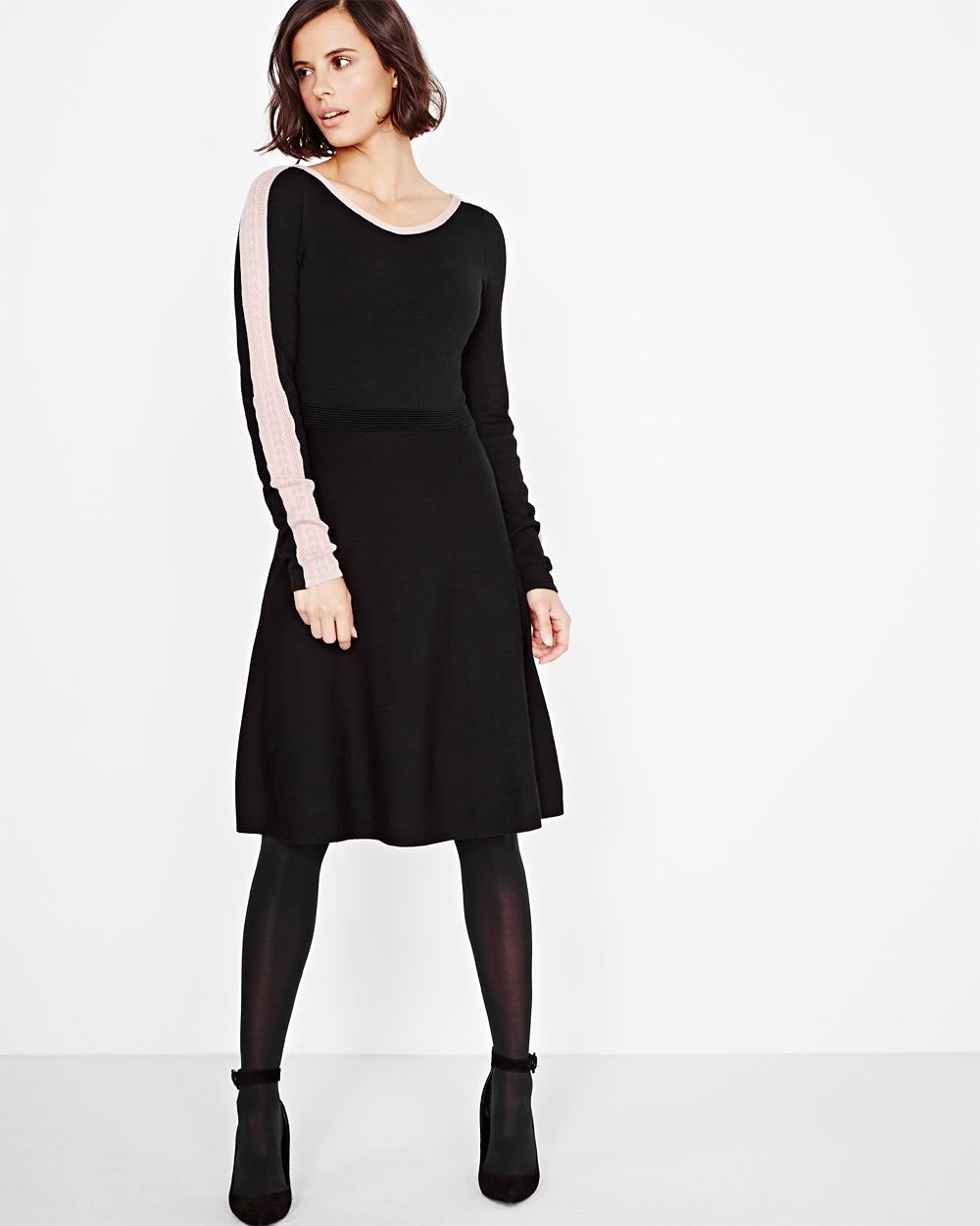 fc49f85553 Fit and Flare Sweater Dress with Lace