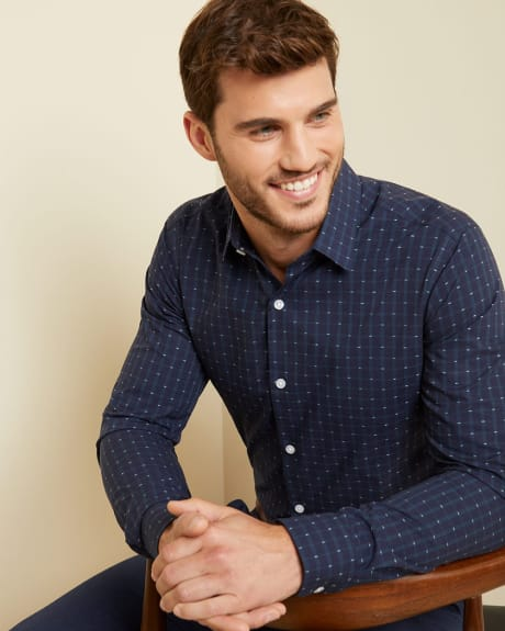 Slim Fit plaid and clipping dress shirt