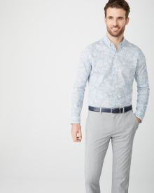 Tailored Fit pastel blue floral Dress Shirt