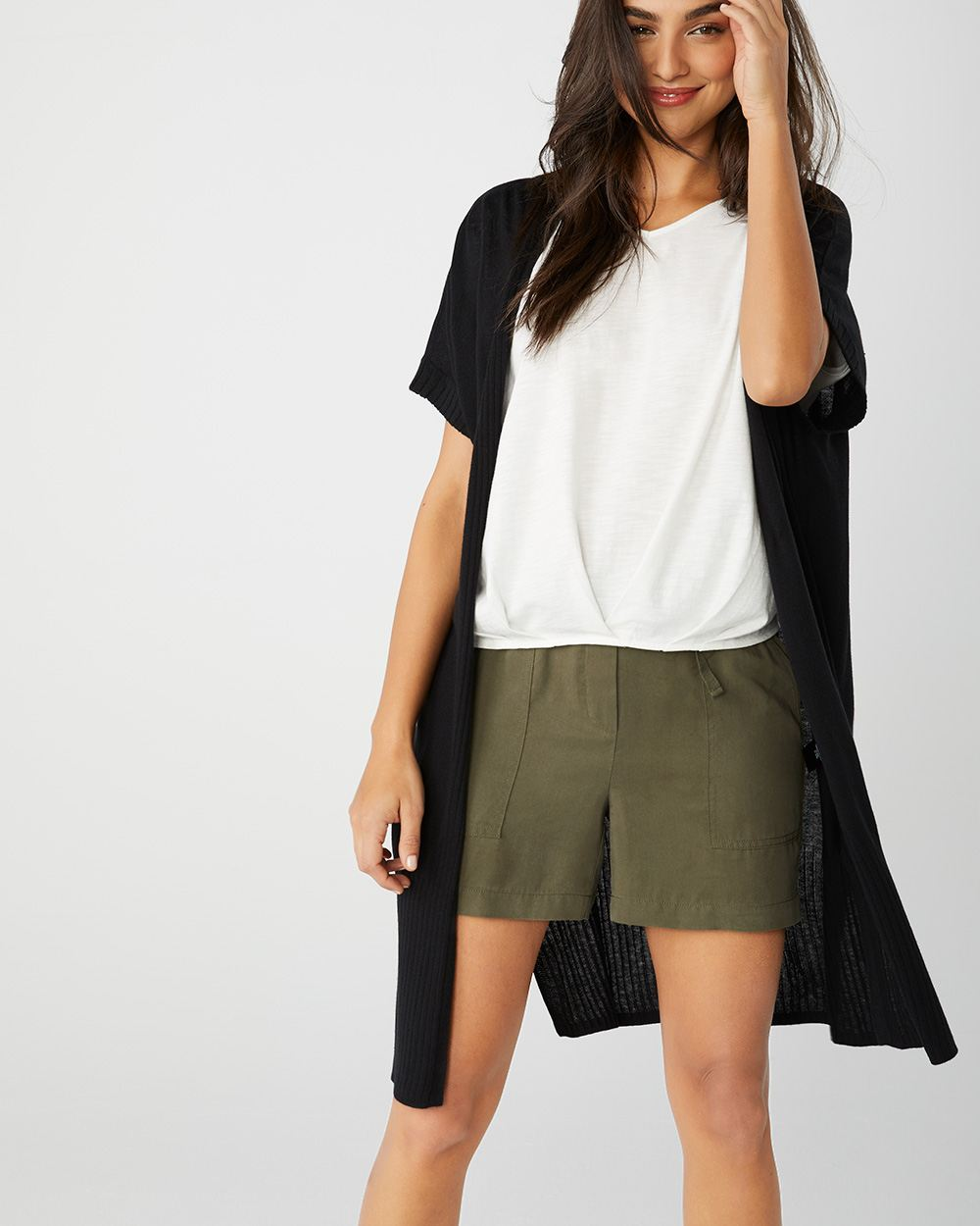 Loose-fit short sleeve cashmere-like cardigan
