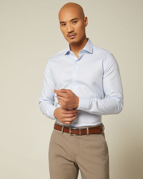 Slim Fit Multi Dot Textured Dress Shirt
