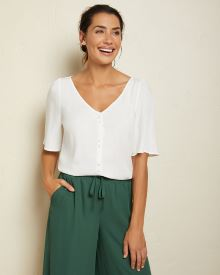 Short sleeve button-down blouse