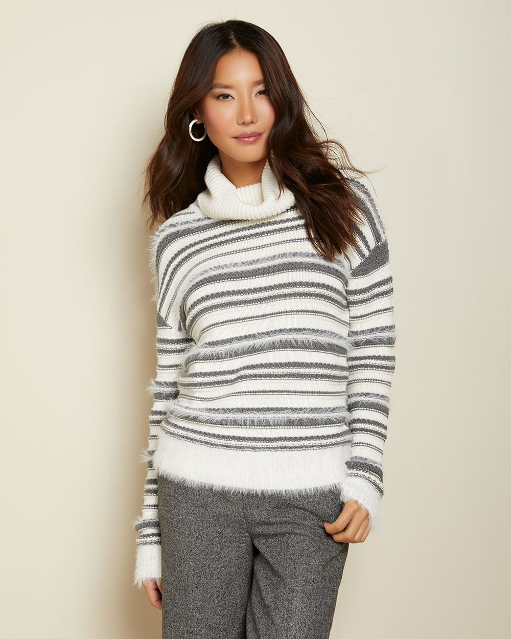 Striped feather yarn cowl-neck sweater