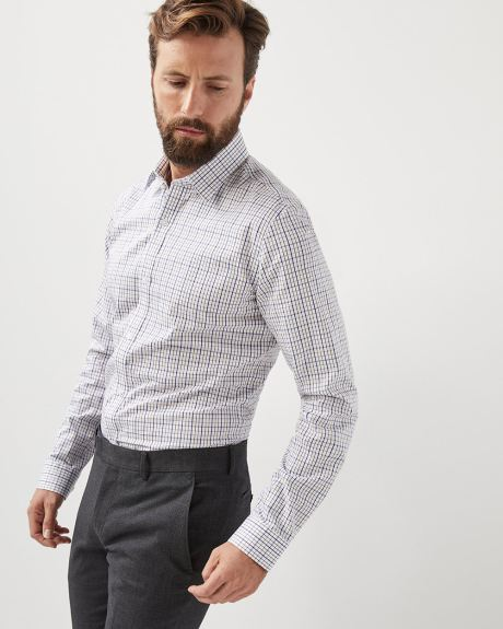 Tailored fit checkered dress shirt - Tall