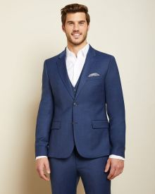 Essential Slim Fit blue wool-blend suit Blazer - Short