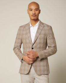 Slim fit taupe check blazer