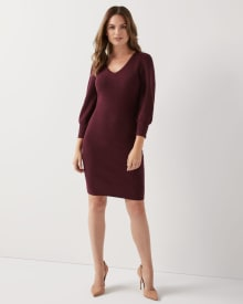 3/4 sleeve Fitted sweater dress