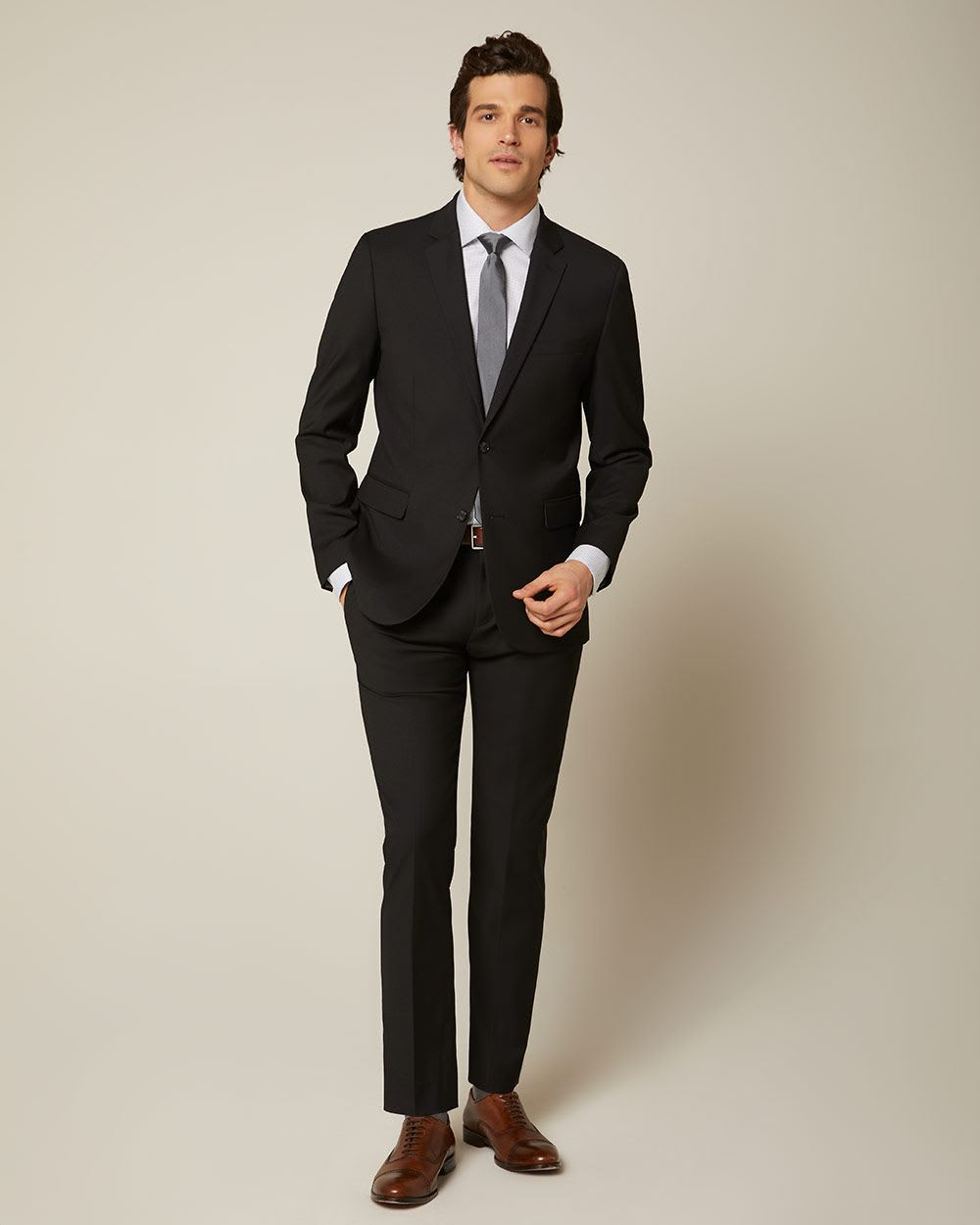 Essential Black Wool-Blend Suit Pant