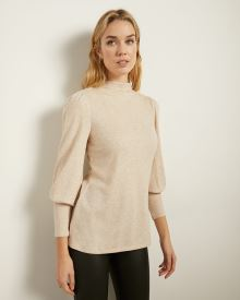 Brushed Knit Puffy Sleeve T-Shirt