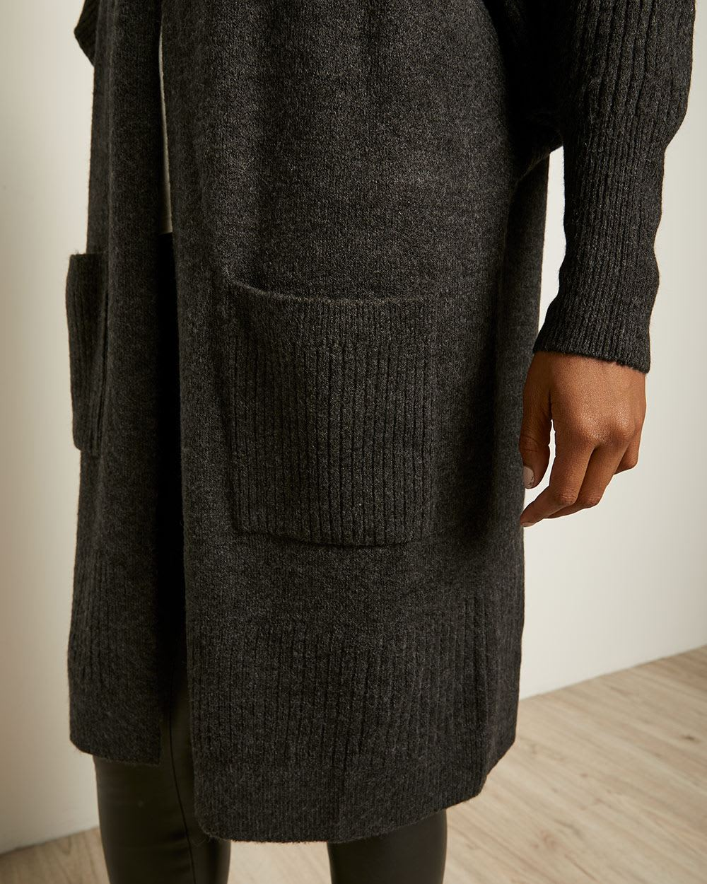 Spongy Knit Bat Wing Sleeve Cardigan