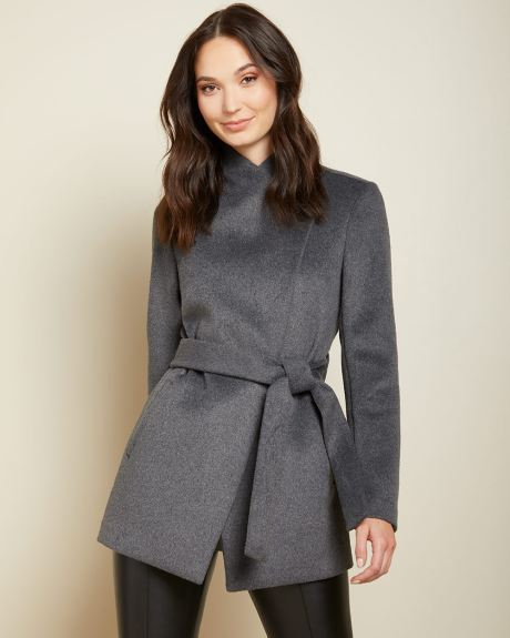 Mid-length Belted wool-blend wrap coat