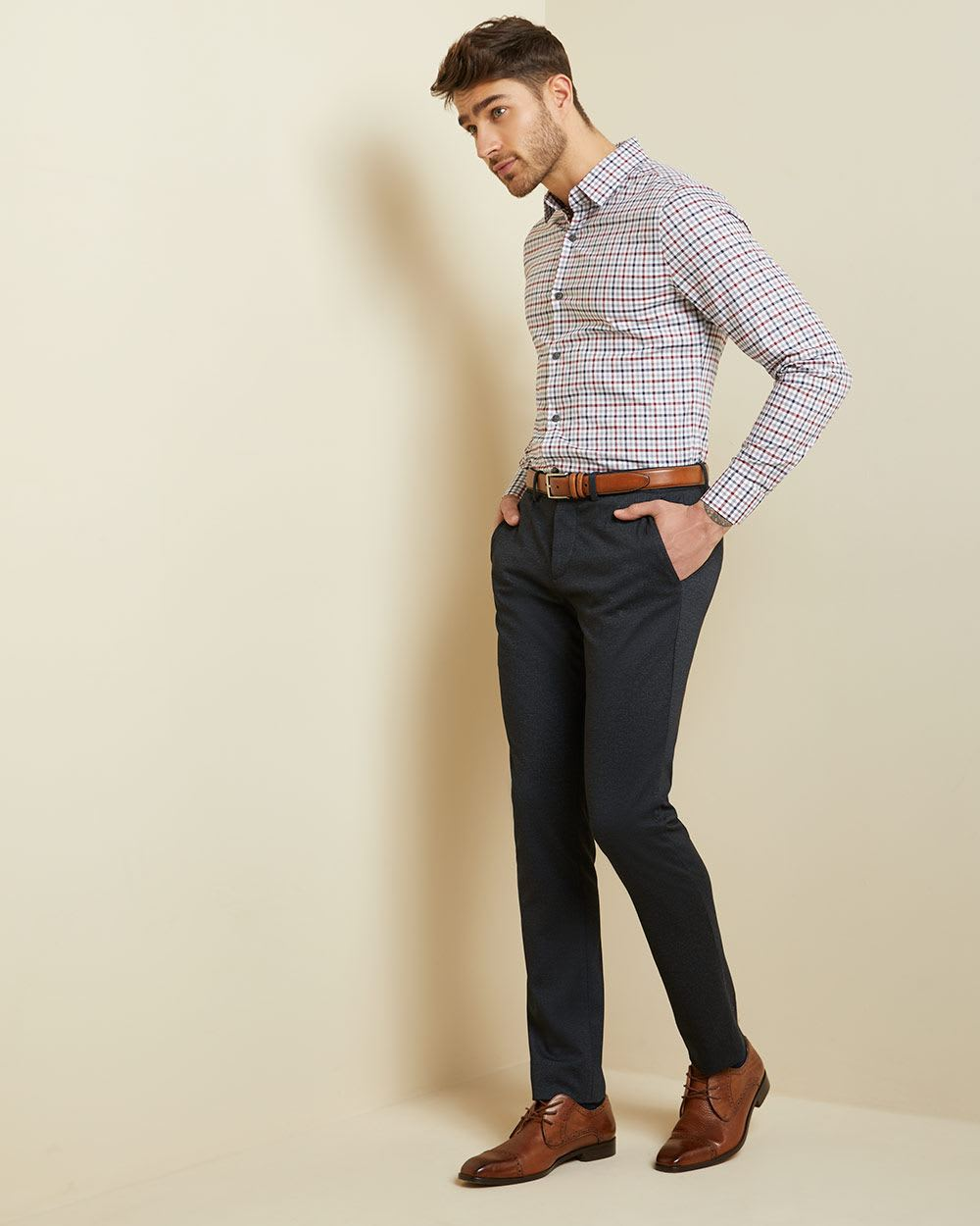 Slim fit blue and red check dress shirt
