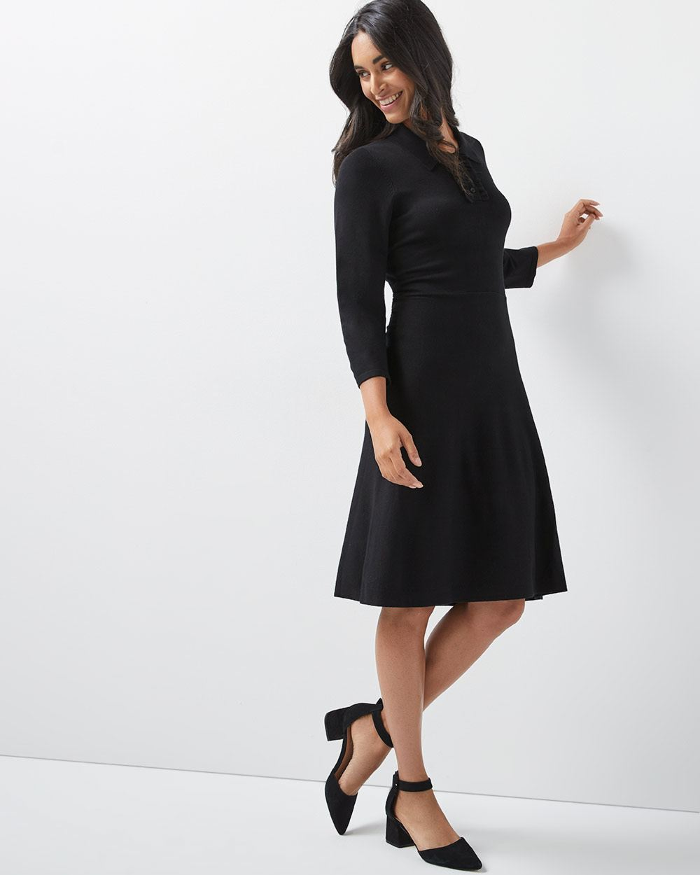 Fit And Flare Sweater Dress With Shirt Collar Rwco