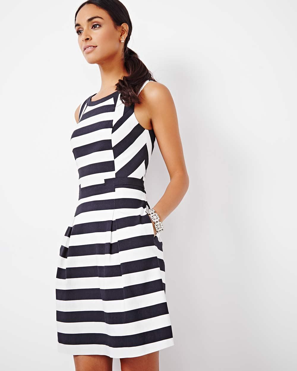 6258deb9cbb9 Striped Fit and Flare Dress | RW&CO.