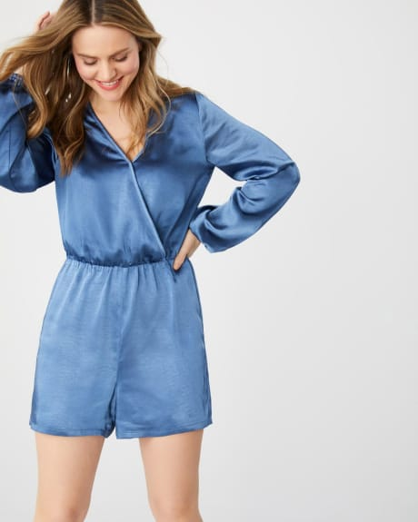 Long sleeve satin romper