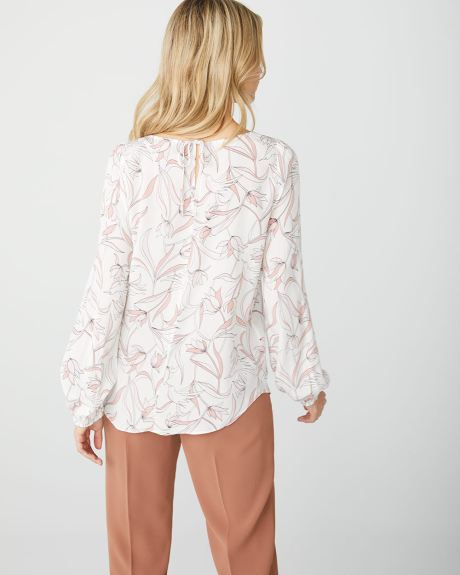 Popover billowy sleeve blouse