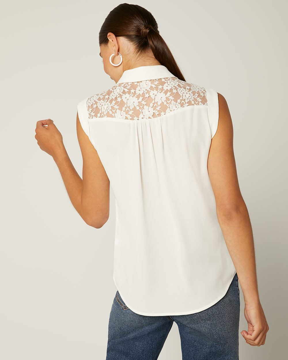 Lace-trimmed Blouse with Neck Tie