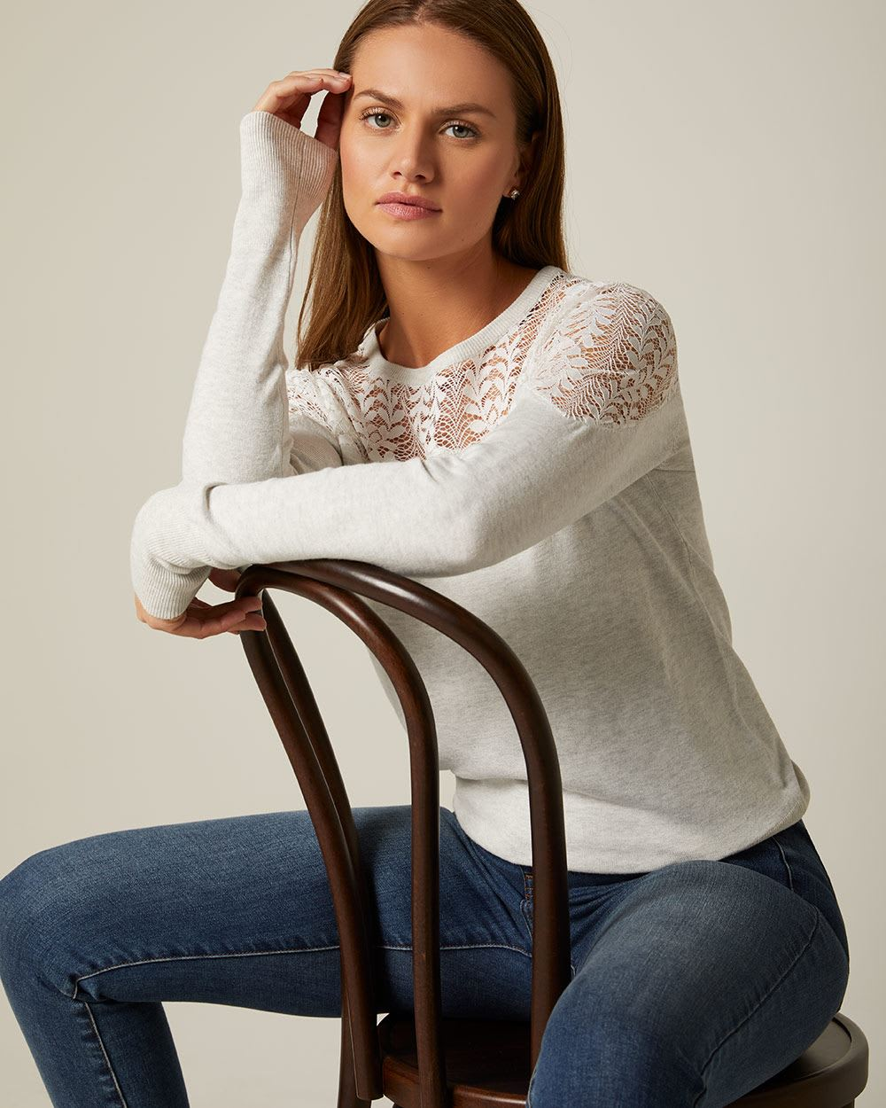 Lace-trimmed shoulder sweater