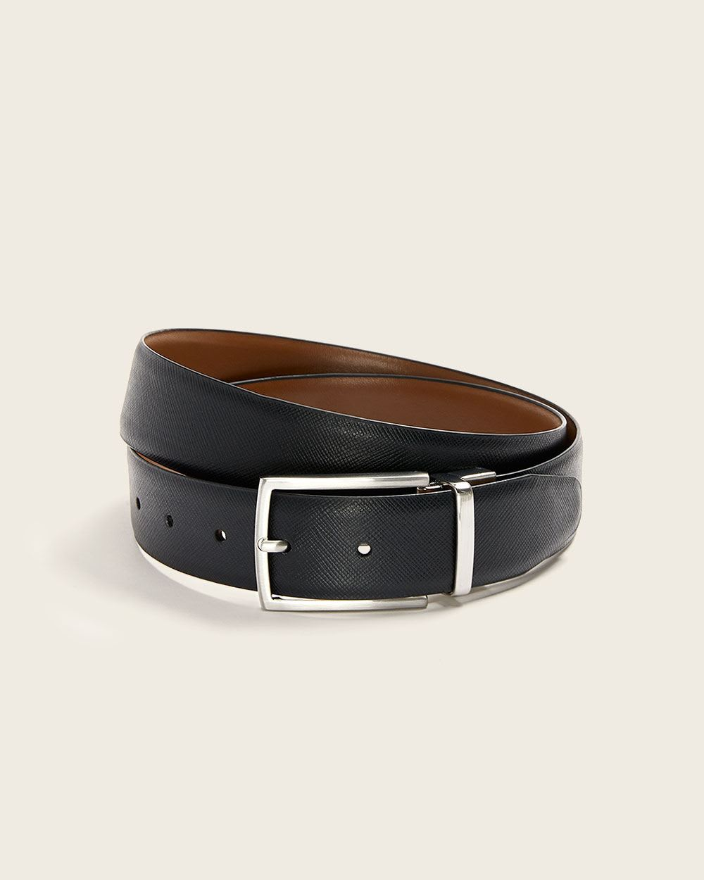 Reversible black and tan leather belt