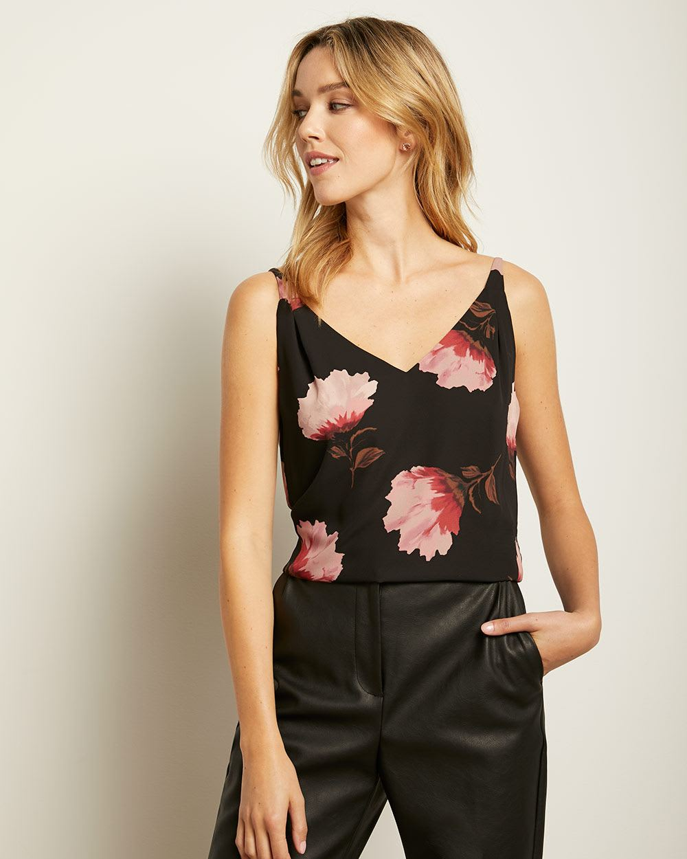 Printed Silky Crepe Pleated Shoulder V-neck Cami