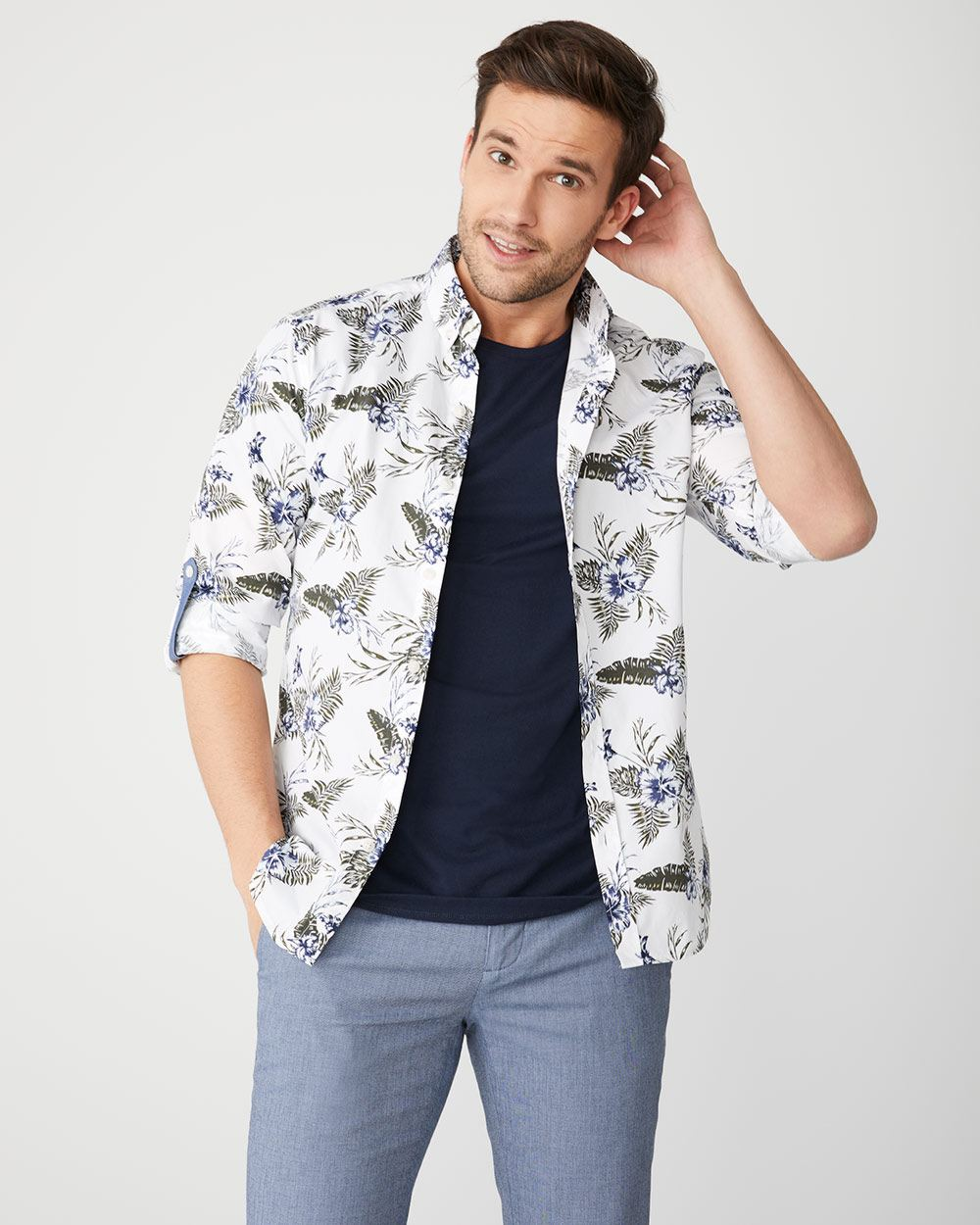 Slim Fit large floral roll-up sleeve Shirt