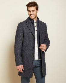 Navy herringbone wool-blend top coat