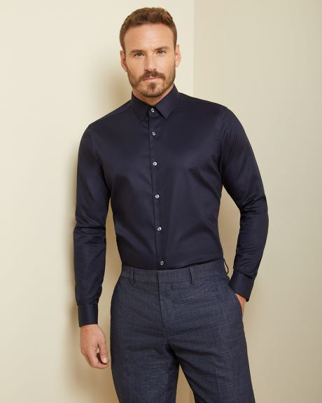 Athletic fit solid blue dress shirt
