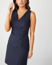 Pinstripe sleeveless dress with buttons