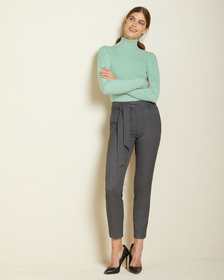 Belted High-waist tapered leg grey pinstripe pant