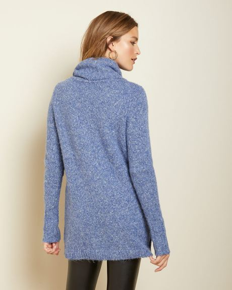 Textured stitch cowl-neck tunic sweater