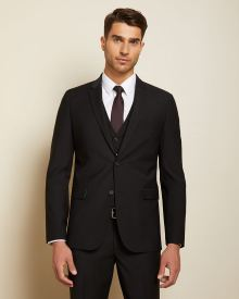Essential Black Wool-Blend Suit Blazer