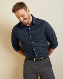 Athletic Fit plaid and clipping dress shirt