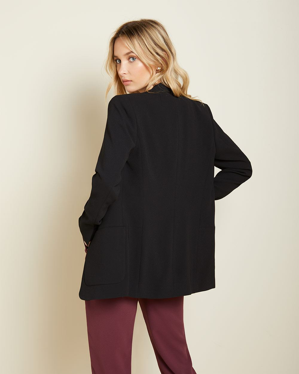 Black Long Loose-fit open blazer