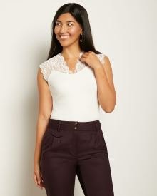 Cap Sleeve Top with Lace Yoke
