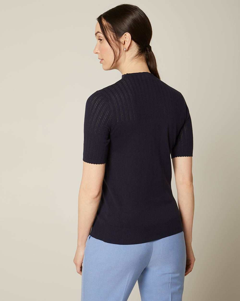 Cashmere-like short sleeve sweater with pointelle stitch