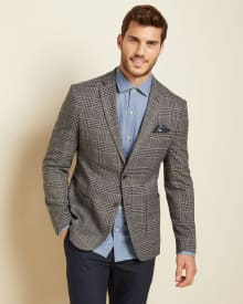 Slim fit Plaid blazer with elbow patch