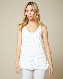 C&G Printed Mixed media Sleeveless tunic t-shirt